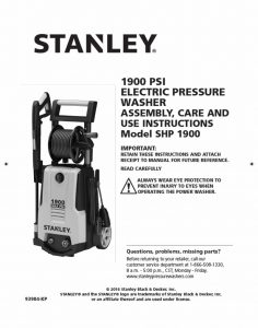Stanley SHP1900 Operating Manual