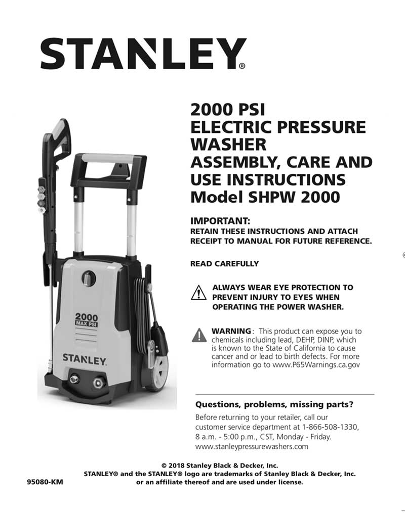 Stanley 2000 Operating Manual Stanley 174 Electric Pressure